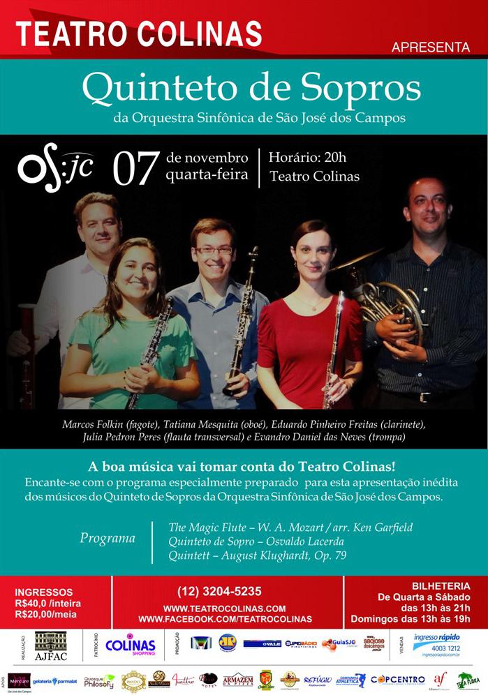 Quinteto de Sopros apresenta-se no Teatro Colinas