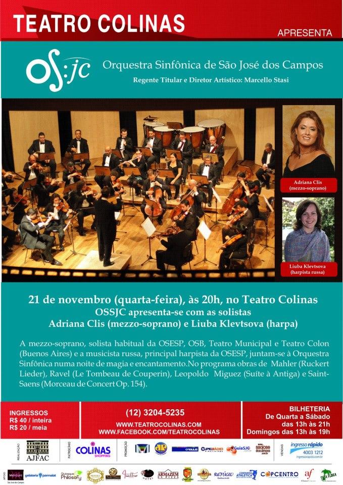 OSSJC se apresenta com as solistas Adriana Clis e Liuba Klevtsova
